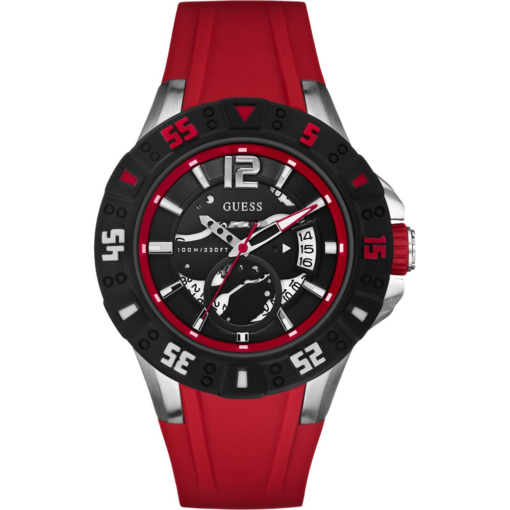 in watches watch men window leather s band red pattern mens