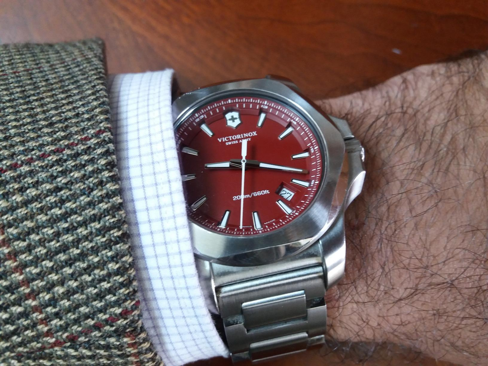 red Victorinox Swiss Army watch